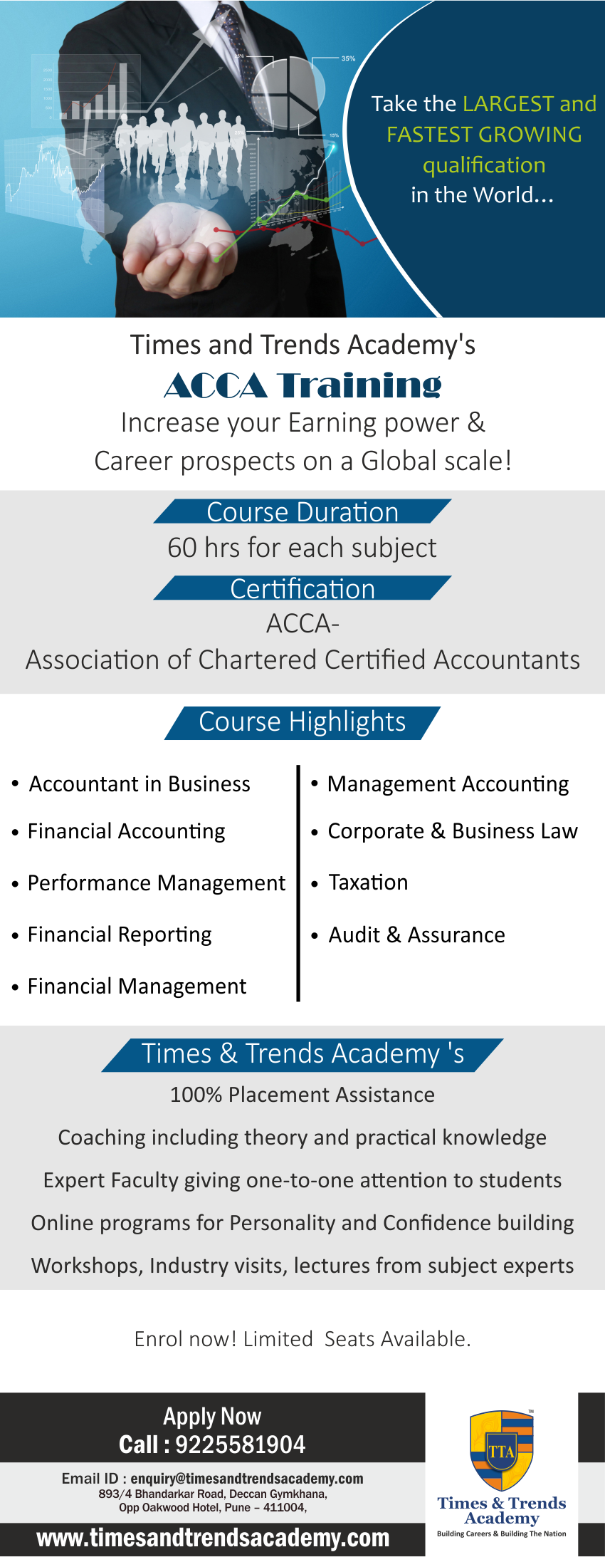 ACCA Training course landing page - Deccan - Times and Trends